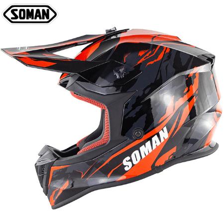 Оранжевый шлем для мотокросса Soman